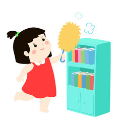 cute girl wiping the dust from bookshelf vector image