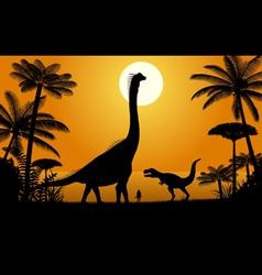 Dinosaurs - Brachiosaurus and Tyrannosaurus vector image vector image