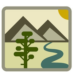 Drawing landscape icon vector