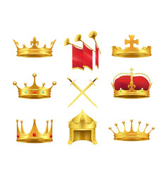 golden ancient crowns and swords set on white vector image