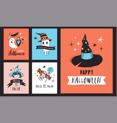 halloween party hand drawn modern cards set vector image