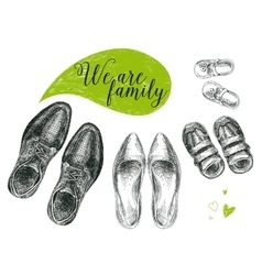 Hand drawn with family shoes vector