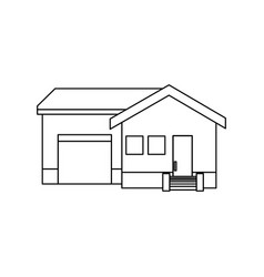 Home with garage exterior house estate vector