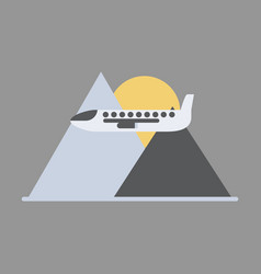 icon flat design for airport plane in mountains vector image