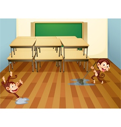 Monkeys cleaning classroom vector