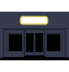 Night shop convenience store storefront at night vector