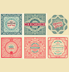 Pack of 6 old cards and labels vector