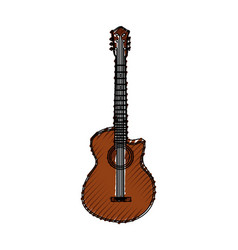 Scribble brown guitar cartoon vector