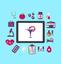 set flat icons of objects medicine and chemical vector image vector image