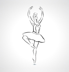 Silhouette beautiful ballerina in ballet pose vector