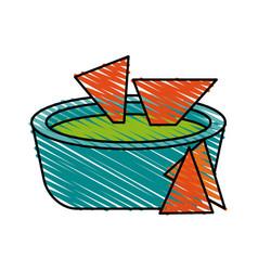 Soup green tomato doodle vector