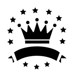 victory - crown with stars and ribbons icon vector image vector image