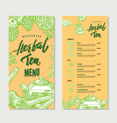 Vintage herbal tea restaurant menu template vector
