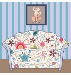 Cartoon interior with couch painted vintage vector image