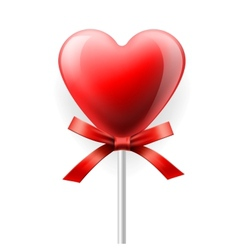 Red heart-lollipop isolated on white vector