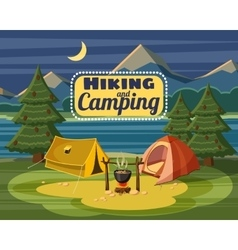 Camping concept cartoon style vector