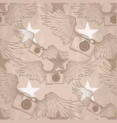 graphic vintage camera with wings vector image