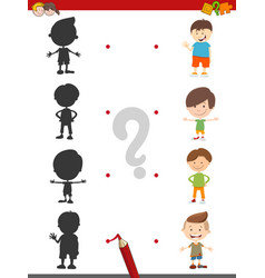 Cartoon shadow activity with boys vector
