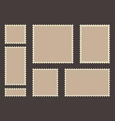 blank post stamp set empty postage stamp vintage vector image