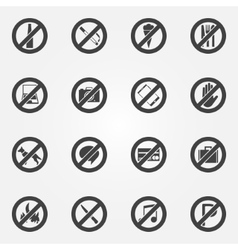 Prohibited or restriction symbols set vector
