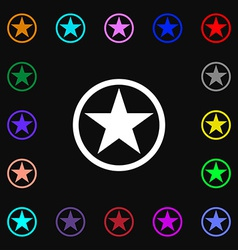 Star favorite icon sign lots of colorful symbols vector