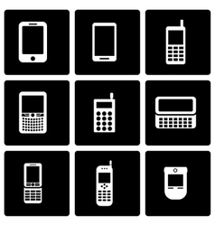 Black mobile phone icon set vector