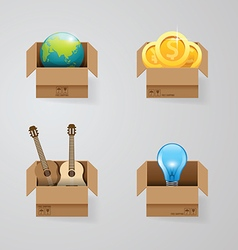 Objects in open box set design concept vector