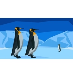 Penguins at the south pole seamless animal vector