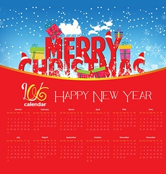 Calendar 2016 with christmas and new year vector