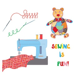 Sewing set with patchwork bear - funny design vector