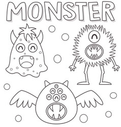 Outlined monsters vector