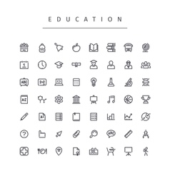 Education stroke icons set vector