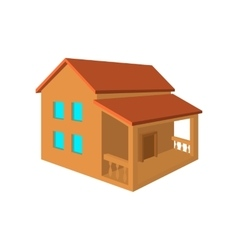 Two-storey house with porch flat icon vector