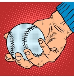 The hand with a baseball vector