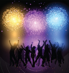 party crowd on fireworks background 0902 vector image
