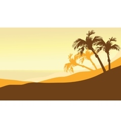 Silhouette of beach summer at the morning vector
