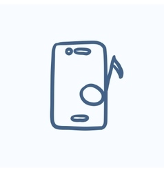 Phone with musical note sketch icon vector
