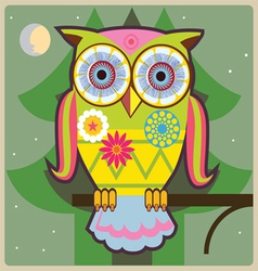 cartoon owl green general vector image
