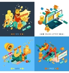 Lottery and jackpot concept icons set vector