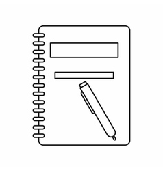 Closed spiral notebook and pen icon outline style vector