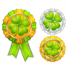award ribbons with clover vector image vector image