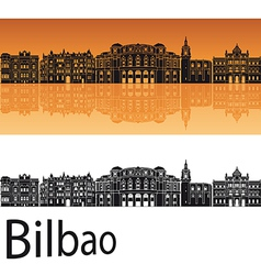 Bilbao skyline in orange background vector