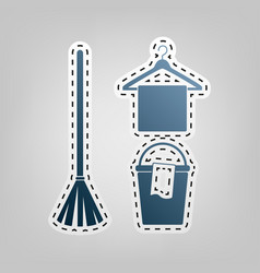 Broom bucket and hanger sign blue icon vector