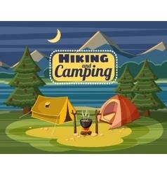 Camping concept cartoon style vector
