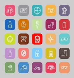 Camping necessary line flat icons vector