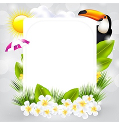 Card With Bird And Flowers vector image vector image