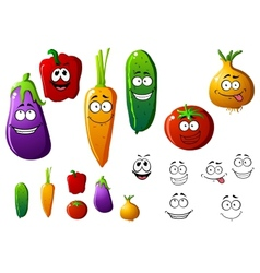Cartoon vegetables with funny emotions vector image vector image
