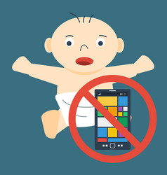 Child and ban on mobile vector