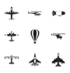 Combat aircraft icons set simple style vector