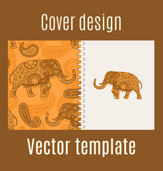 cover design with indian elephant pattern vector image vector image